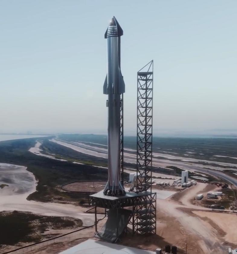 Leaked official render of SpaceX Starship Super Heavy at launch pad in Boca Chica, Texas