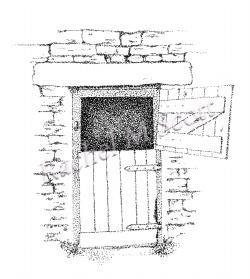 Barn Door stipple illustration by Rachel M Scott