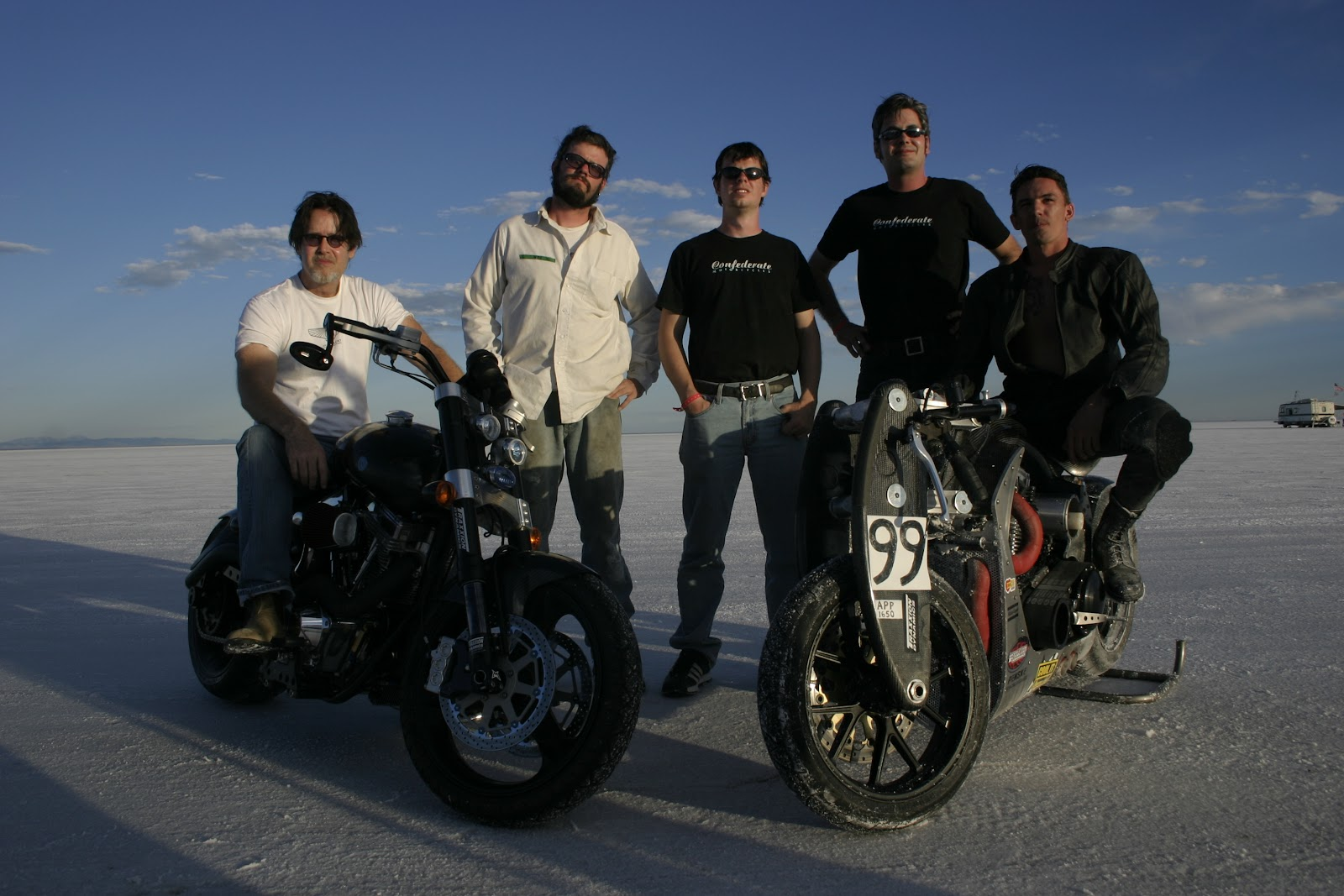 Confederate team at the BUB speed trials on the Bonneville Salt Flats, August 2004