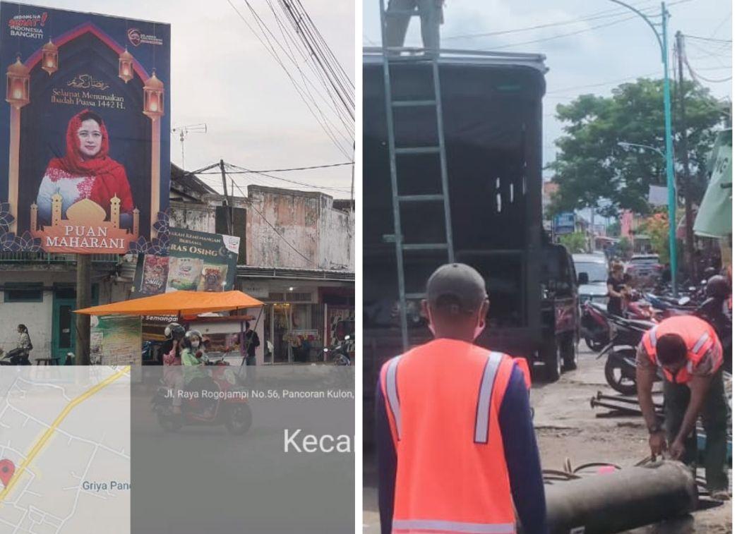 Reklame 'Puan' Dibongkar Satpol PP Tanpa Ijin, Sang Pemilik Ngamuk