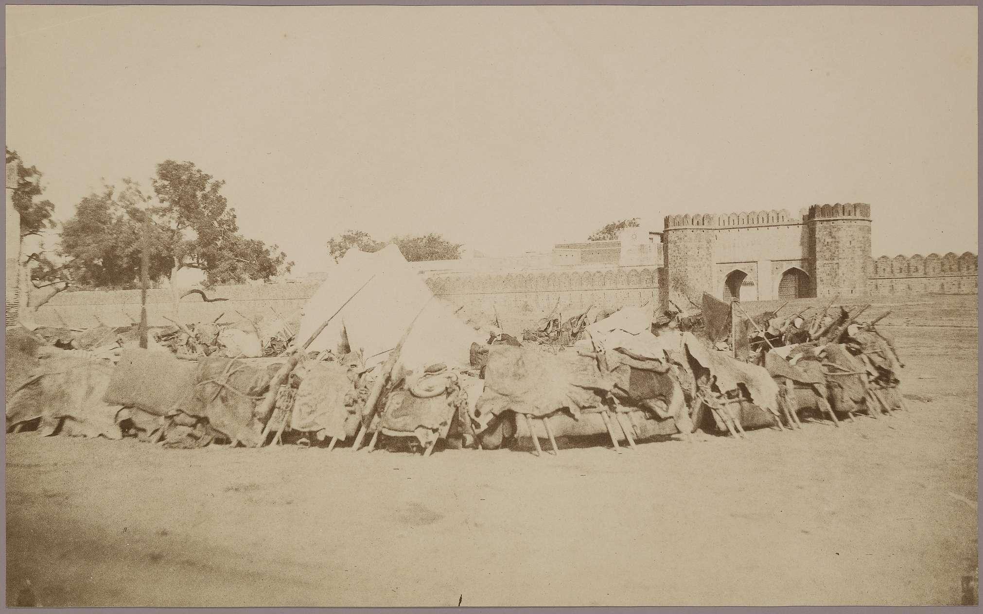 Lahore Gate of Delhi with Patiala Raja's Zumbruck (Camel Gun Encampment) - c.1857-1858