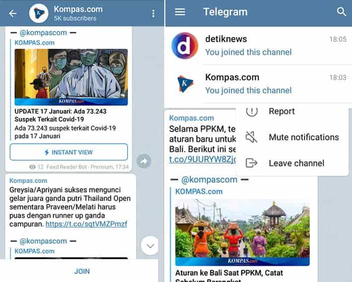 cara mencari berita di telegram