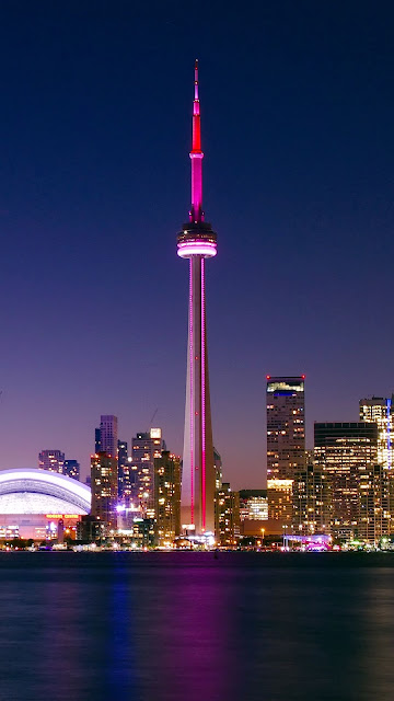 City, Night, Toronto, Canada, Buildings, Architecturev