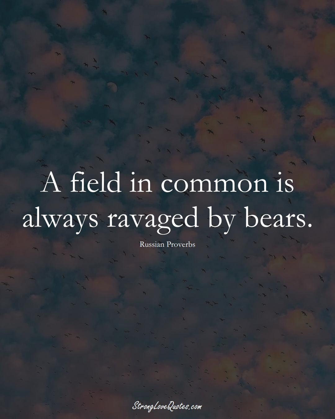 A field in common is always ravaged by bears. (Russian Sayings);  #AsianSayings