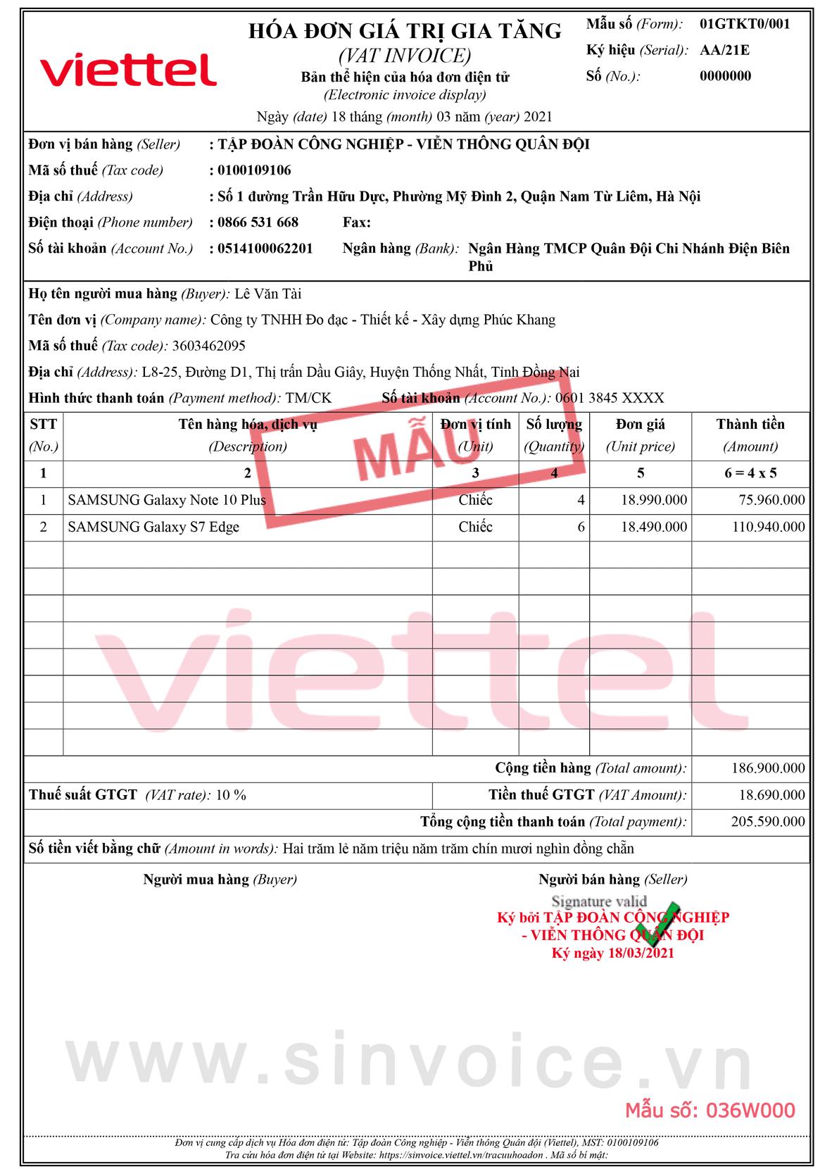 Mẫu hóa đơn điện tử số 036W000