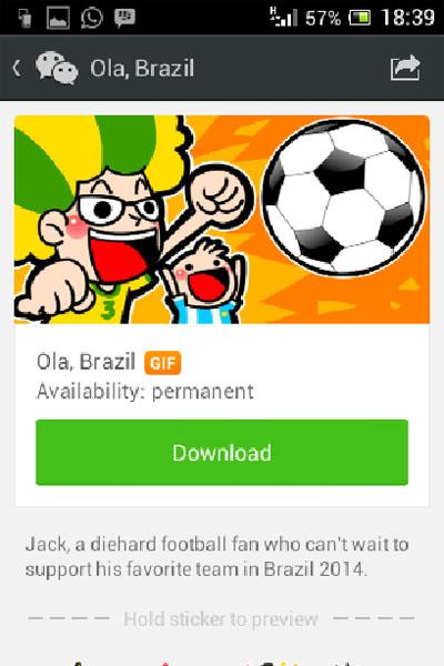 Sambut Piala Dunia, WeChat Luncurkan Stiker Animasi 'Brazil 2014'