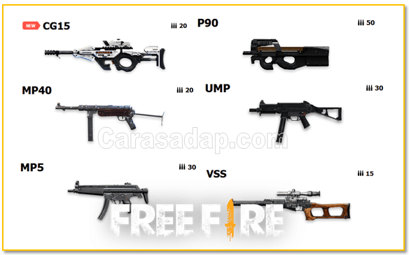 senjata submachine gun free fire
