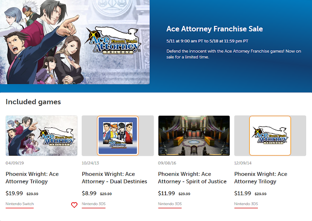 Nintendo eShop Ace Attorney Franchise Sale May 2021 prices