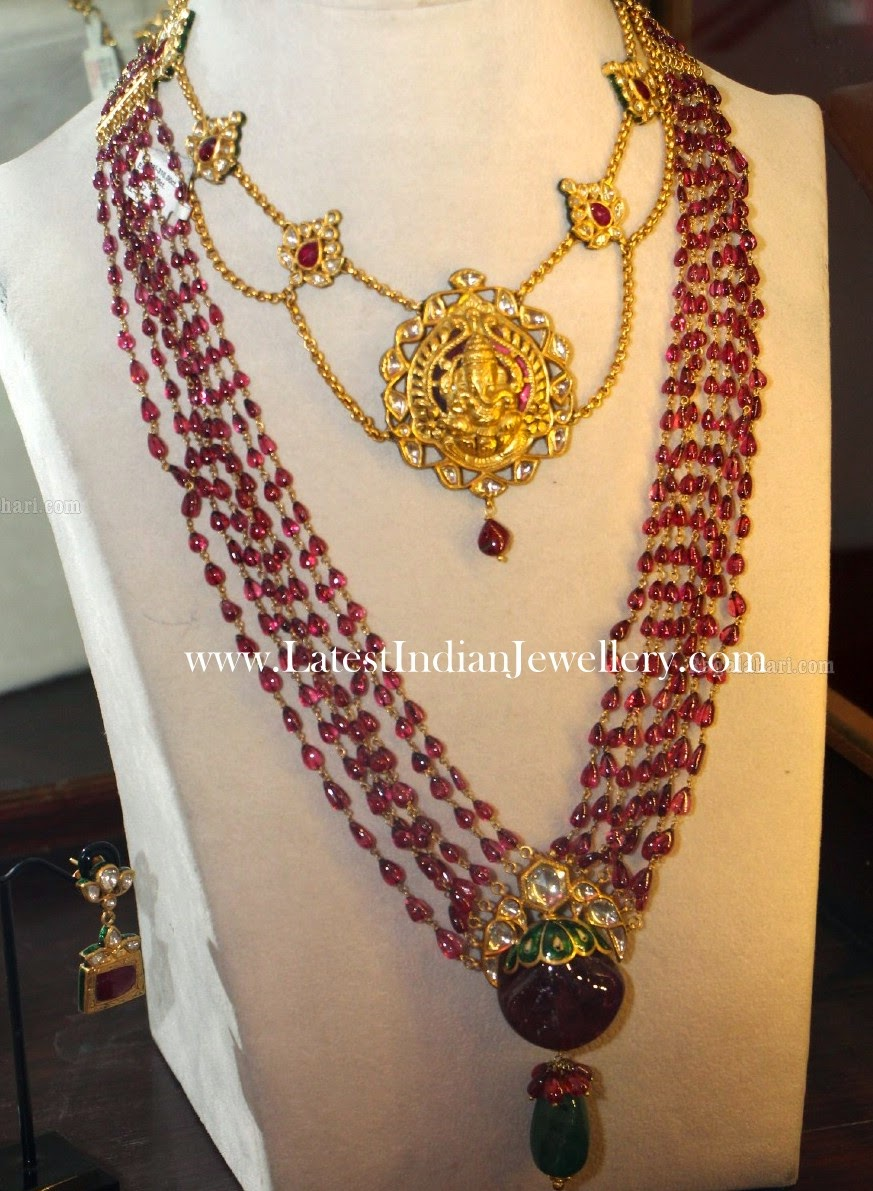 Ganesh Necklace Ruby Beads Mala