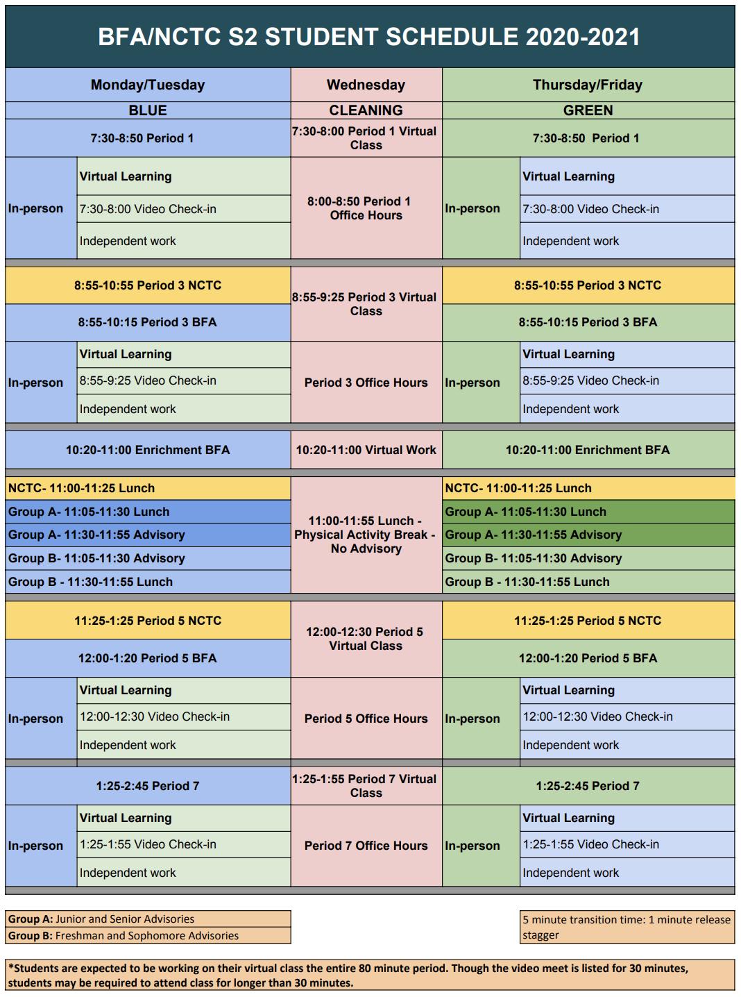 Semester 2 Student Schedule & Start Time