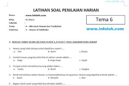 Soal Tematik Kelas 2 SD Tema 6 Subtema 1 Kurikulum 2013 Hewan di Sekitarku dan Kunci Jawaban