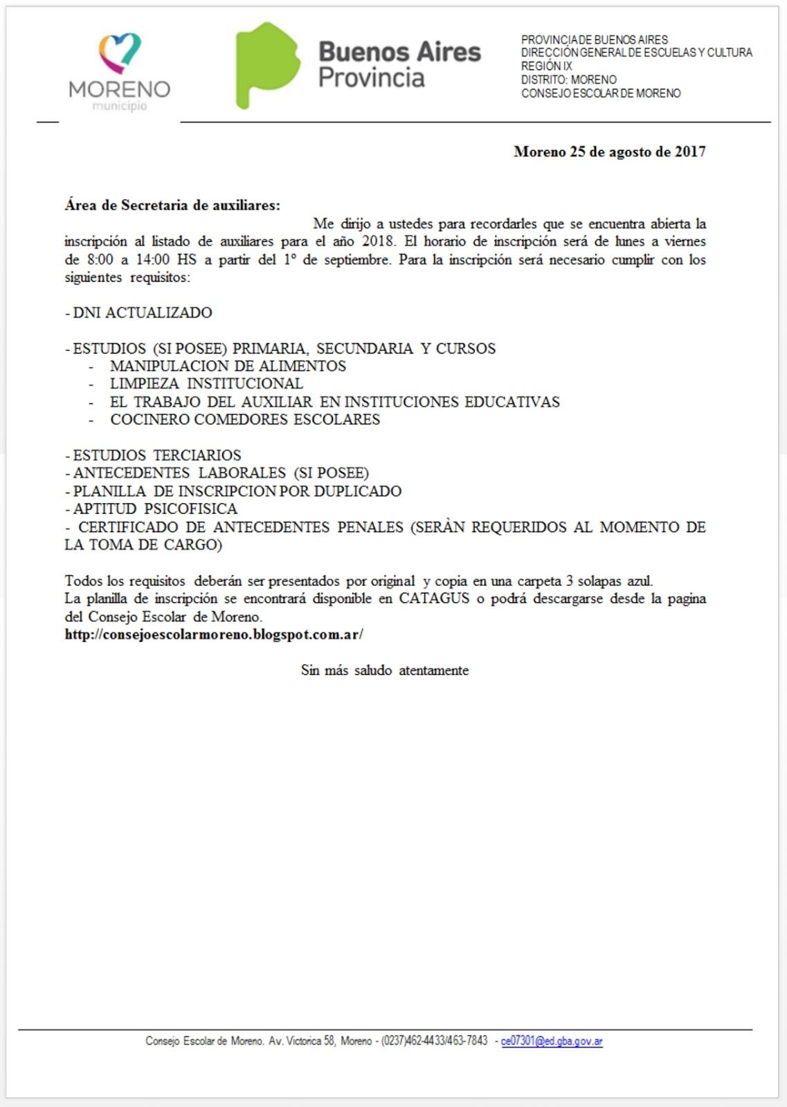 Consejo Escolar de Moreno: Se abre la Inscripción al Listado de ...