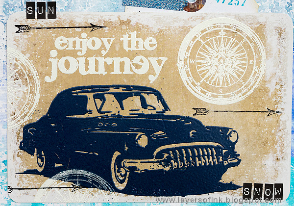 Layers of ink - Road Trip Journal Page by Anna-Karin Evaldsson with stamps by Tim Holtz