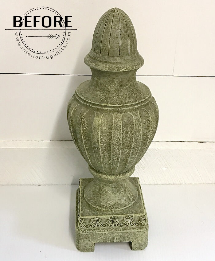 DIY Faux Concrete Resin Finial Before