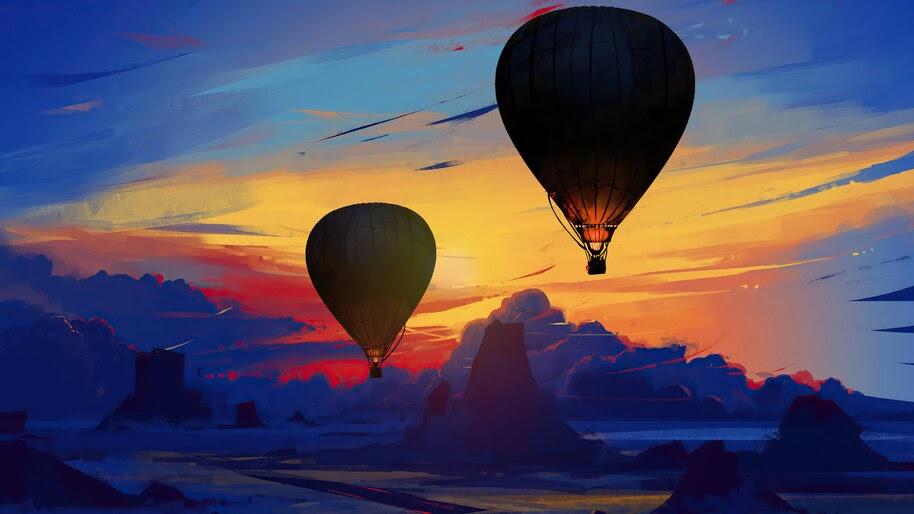 Hot Air Balloon, Sky, Sunset, Art, Scenery, 4K, #6.917