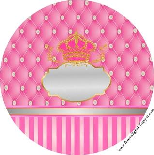 Toppers o Etiquetas de Corona Dorada en Fondo Rosa con Brillantes  para imprimir gratis.