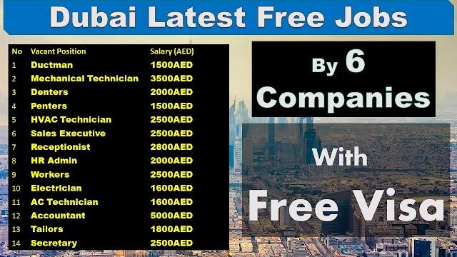 Dubai Latest Jobs By 6 Companies 2020.