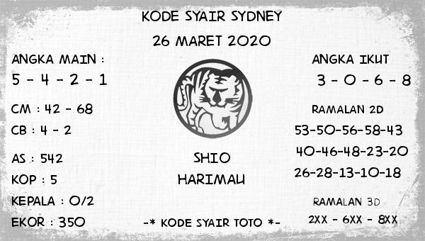 Prediksi Togel Sidney Kamis 26 Maret 2020 - Kode Syair Sydney