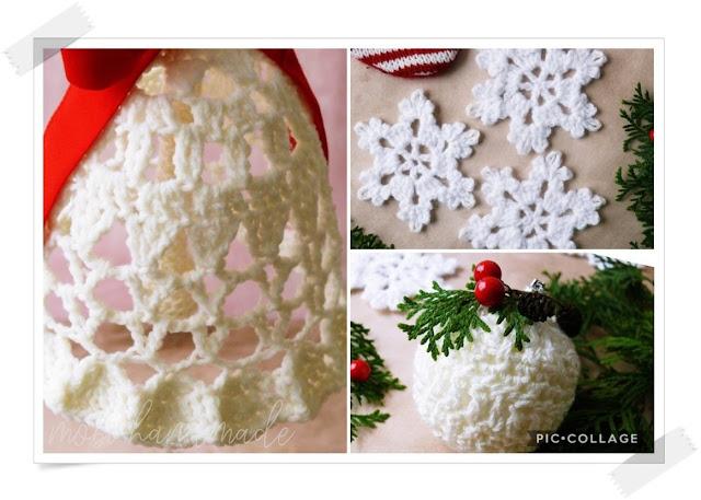 Szydełkowe ozdoby świąteczne (bombka, dzwonek, śnieżynka)