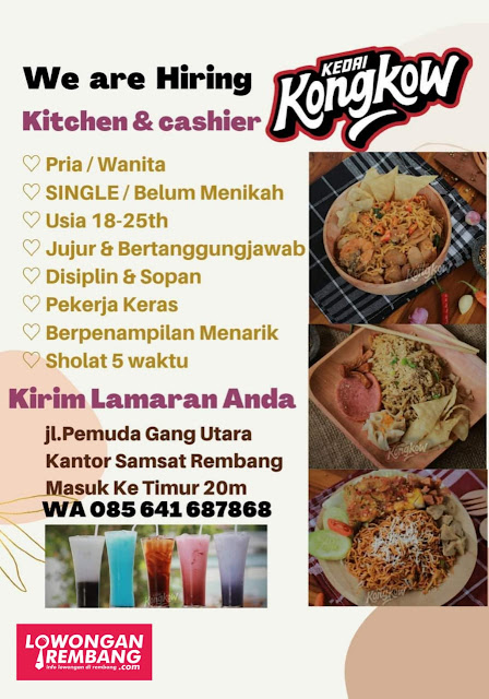 Lowongan Kerja Kitchen Dan Cashier Kedai Kongkow Rembang Tidak Ada Syarat Pendidikan