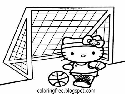 Cool printable ballgame sports summer drawing Hello Kitty colouring pages for teenage girls and boys