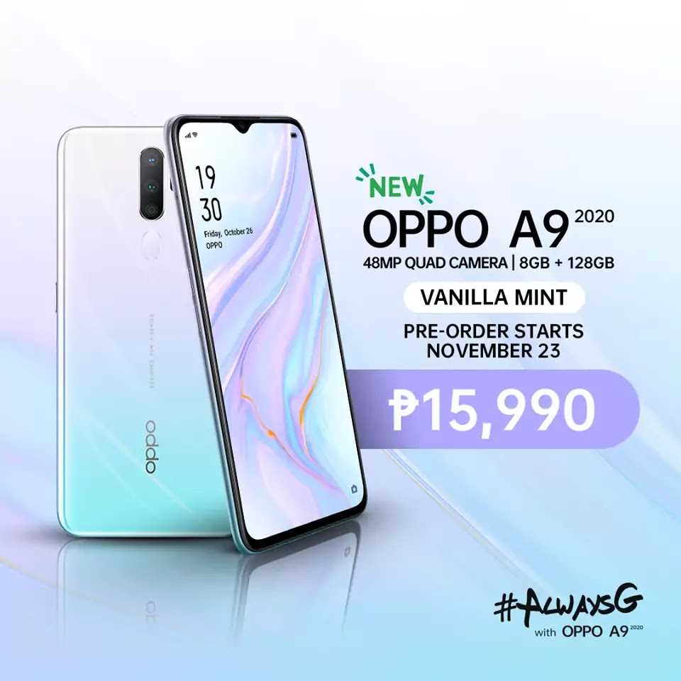 OPPO A9 2020 in Vanilla Mint