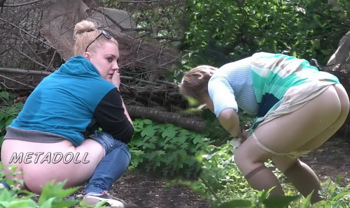 Hiding Place WC 19 (Girls takes a piss squatting near the bushes in this voyeur video)
