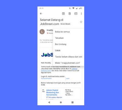Cara Berhenti Berlangganan Email Lina Jobstreet