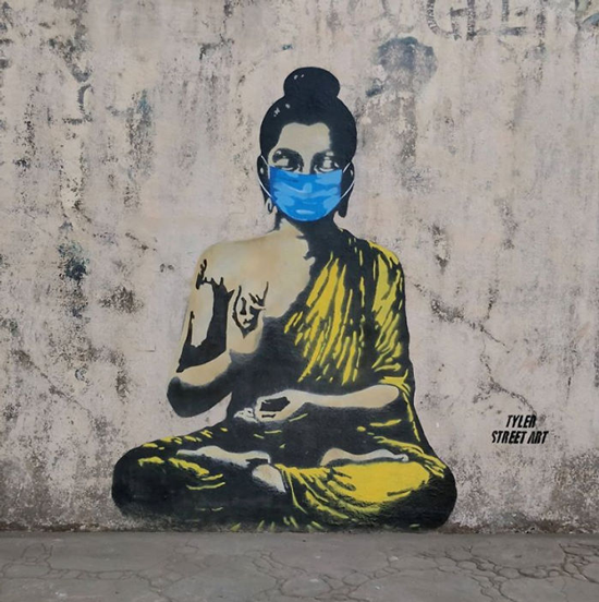 graffiti covid tetap tenang