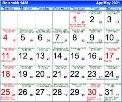 Bengali Calendar Boishakh 1428 - April/May 2021