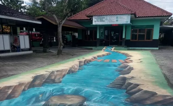 Sungai 3D di Depan Kantor Camat Sedayu Bantul
