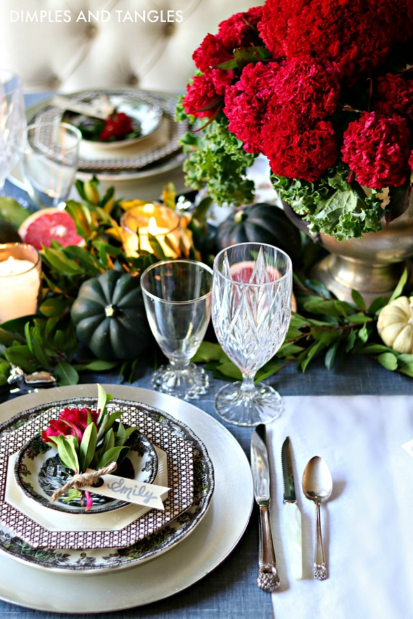 friendly village dishes, coxcomb arrangement, greenery table runner, rogers eternally yours