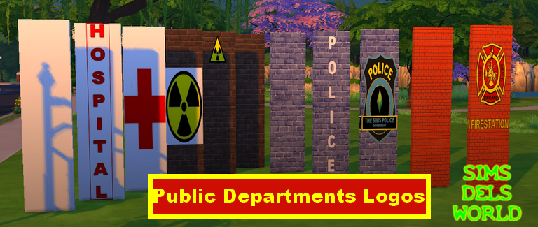 Simsdelsworld  The Sims 4   Public Department Logos  Walls