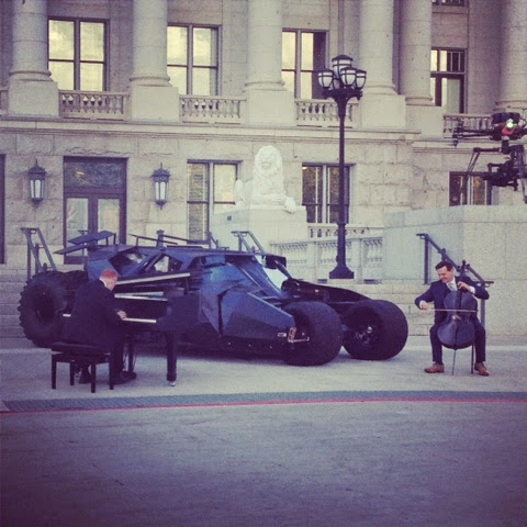 Piano guys at Utah State Capitol with Batmobile