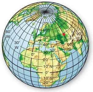 Earth's coordinate grid system. Latitude and latitude parallels, as well as longit-ude and meridians, allow us to locate all places on Earth precisely. The red dot circles is at 49°N latitude and 60° E longitude.