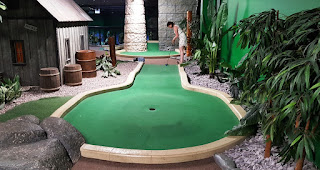 Emily Gottfried playing at the Paradise Island Adventure Golf course in Manchester