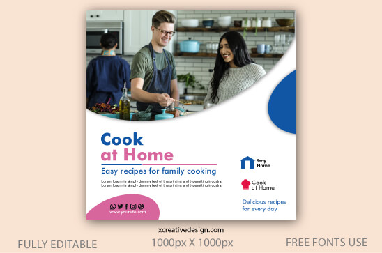 Cook at home editable instagram post template