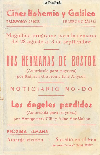 Dos Hermanas de Boston - Programa de Mano - Kathryn Grayson - June Allyson - Jimmy Durante
