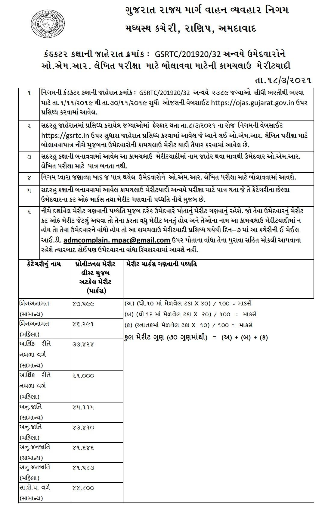 GSRTC Conductor Provisional O.M.R. Merit list , 2021