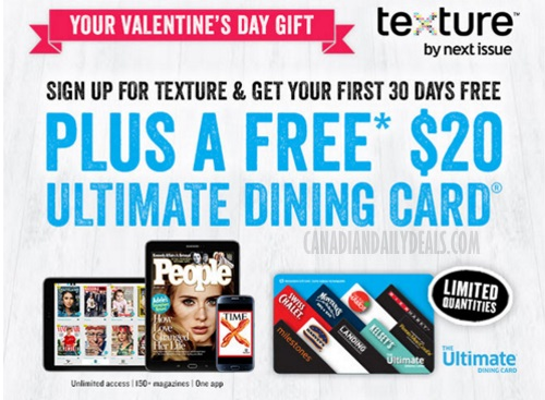 Texture By Next Issue Free $20 Cara Dining Gift Card
