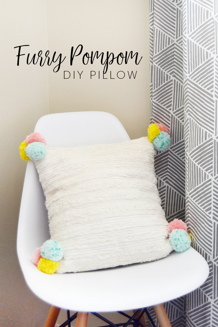 pom pom fur pillow