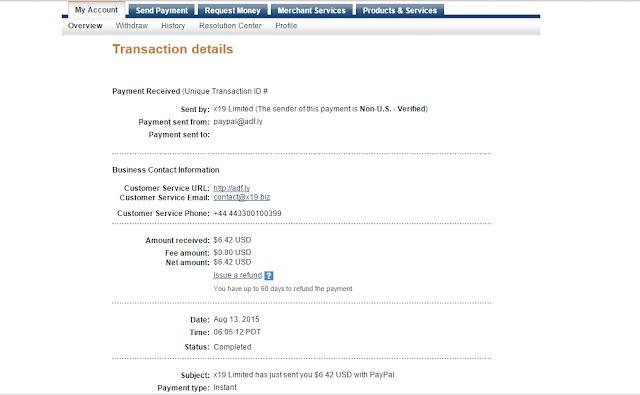 إثبات الدفع الخاص بي في موقع adfly