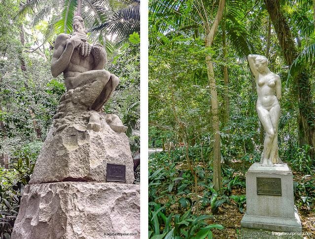 "Parque Trianon, São Paulo, esculturas ""O Fauno"", de Victor Brecheret e ""Aretusa"", de Francisco Leopoldo"