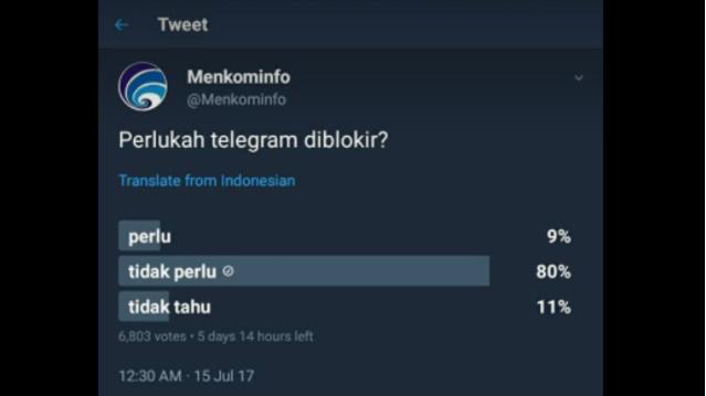 Menkominfo Polling Pemblokiran Telegram, Banyak Warganet Menolak