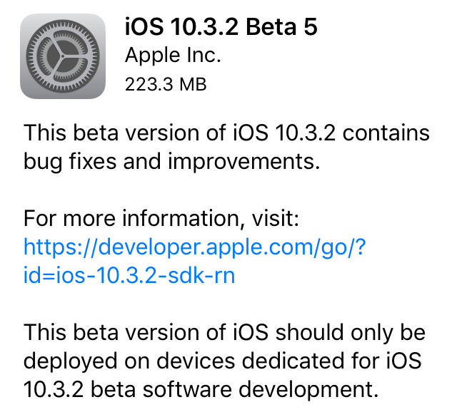 Apple has released iOS 10.3.2 beta 5 to developers which came  just 3 days after iOS 10.3.2 beta 4 was released.