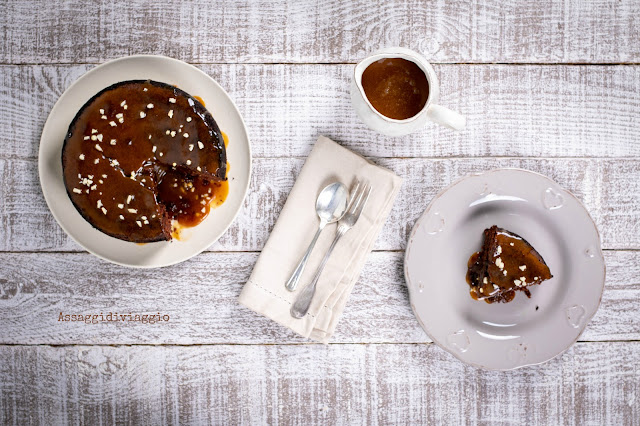 Dark chocolate polenta cake with salted caramel sauce