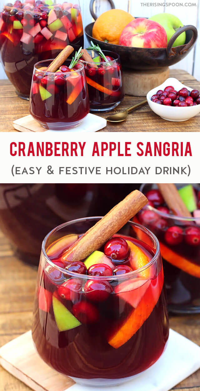 Need an easy & festive cocktail for holiday celebrations like Thanksgiving, Christmas & New Year's Eve? Fix a pitcher of this cranberry & apple sangria, then let it infuse in the fridge for a few hours. It's packed with like fruity red wine, apple cider, cranberry juice, fresh apples, cranberries, orange, cinnamon, a bit of vodka or brandy & sparkling water or dry sparkling white wine for a bubbly topper. This is the best recipe for making simple & gorgeous holiday drinks in advance.