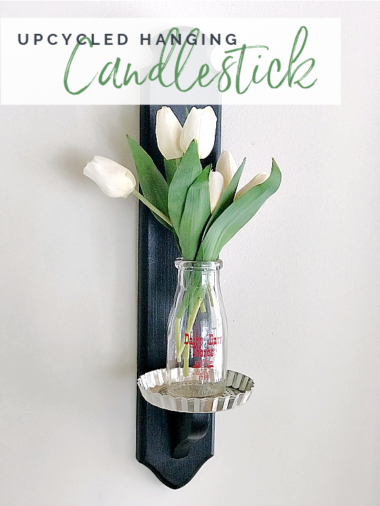 hanging flower candle stick with tulips and overlay
