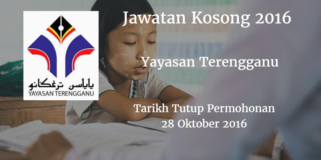 Jawatan Kosong  Yayasan Terengganu 28 Oktober 2016