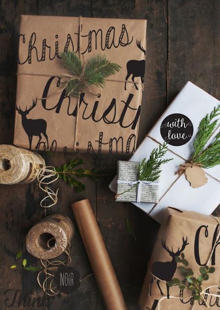 3 envoltorios navideños fáciles para tus regalos + etiquetas imprimibles